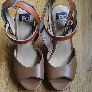 Peep-toe ankle-strap sandal wedges